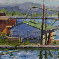 Oil painting Dock House in Ranier  by William Sharp