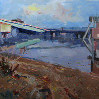 Oil painting Kelley Point Park Bridge by William Sharp