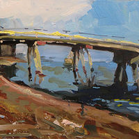 Oil painting Kelley Point Park Bridge study by William Sharp