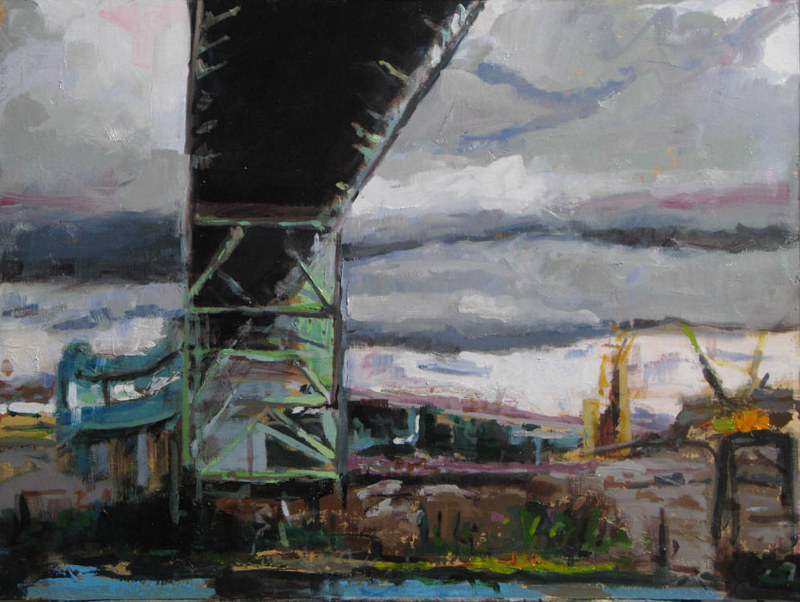 Oil painting Under the Fremont Bridge by William Sharp