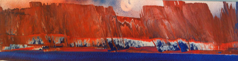 Acrylic painting The Red Escarpment by Timothy J Sullivan