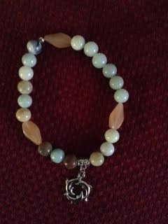 Amazonite bracelet with silver plated charm by June Long-schuman