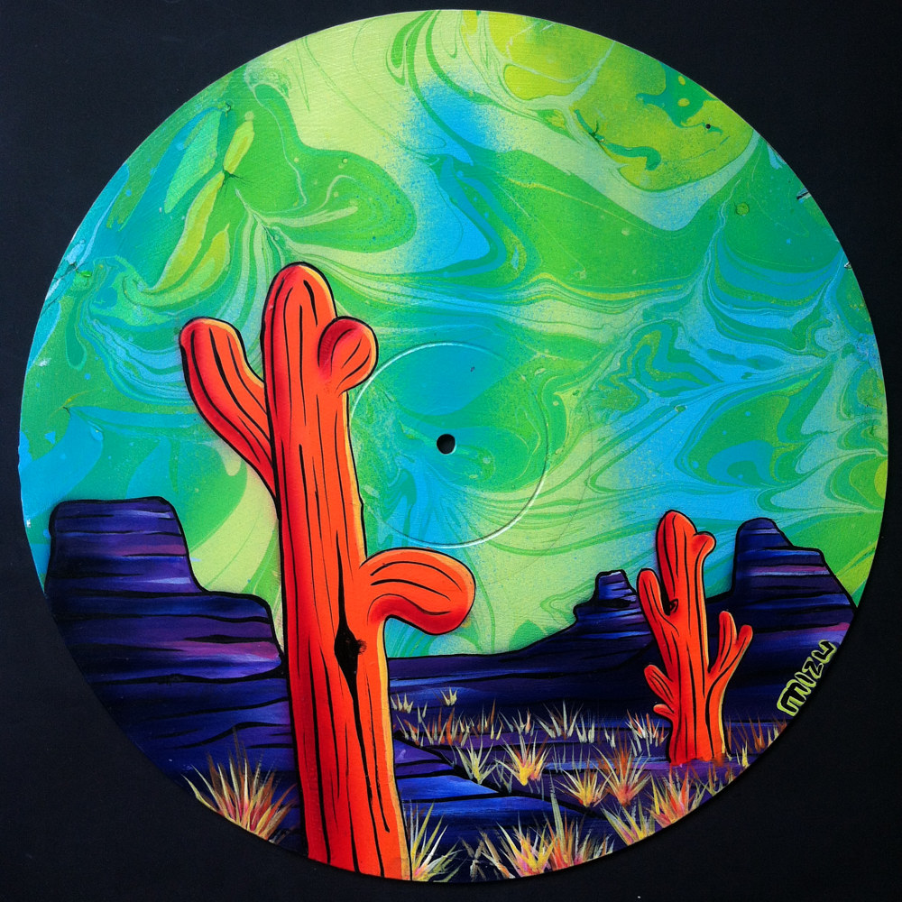 Painting Orange Saguaros on Vinyl Record by Isaac Carpenter