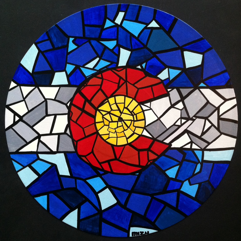 Painting Colorado Flag Mosaic on Vinyl Record  by Isaac Carpenter