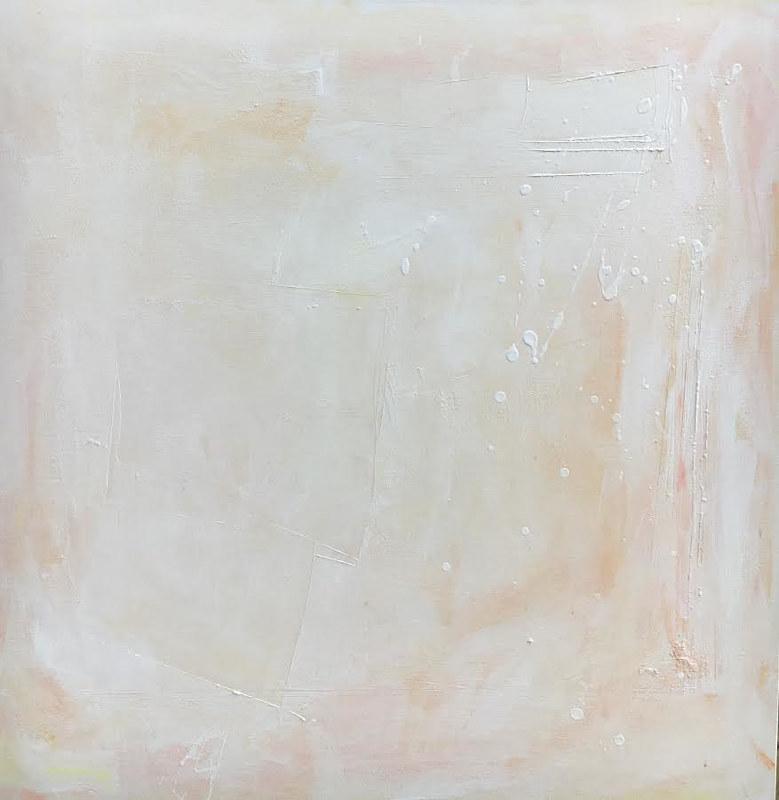 Mixed-media artwork Serenity in Peach by Sarah Trundle