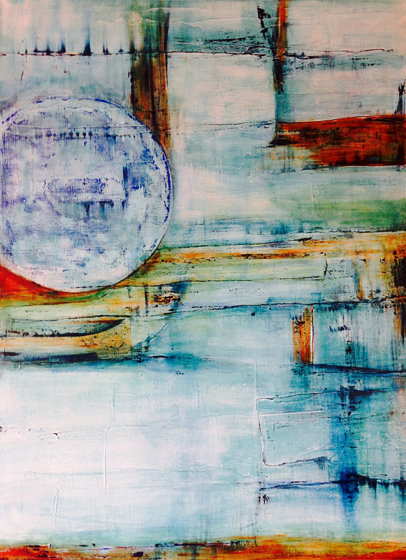 Acrylic painting Blue Moon in My Living Room by Timothy J Sullivan