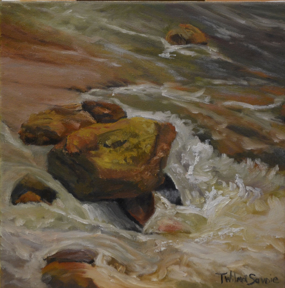 Rock Music ll - oil on canvas 12 x 12 - 7-0416 by Patricia Savoie