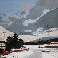 Acrylic painting Sled Trail at Dusk by Harry Stooshinoff