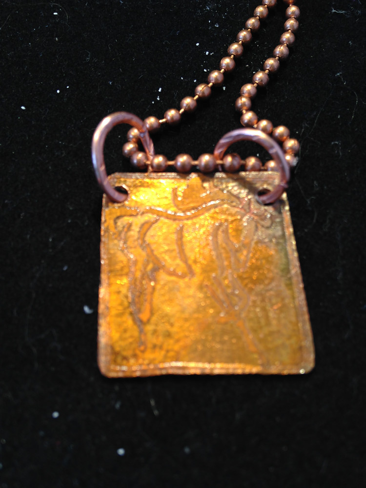 Copper Prancing Horse Etched Pendant on Ball Chain IMG_6423 by Renee Hennessy