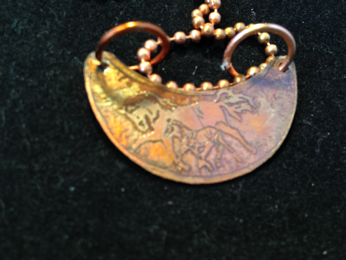 Horse and Pony Etched Copper Pendant on Ball ChainIMG_6427 by Renee Hennessy