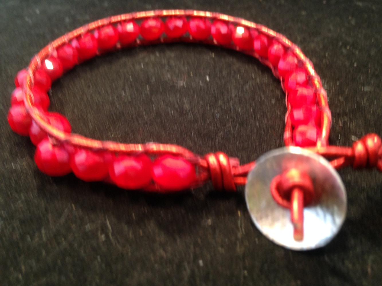 Red Faceted Ruby ,Round Metalic Leather, Chan Luu Bracelet    IMG_6630 by Renee Hennessy