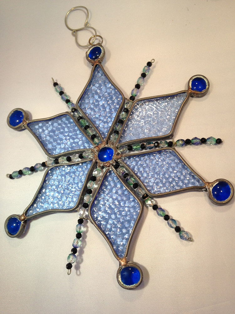 Stined Glass Snowflake With Beads IMG_7298 by Renee Hennessy