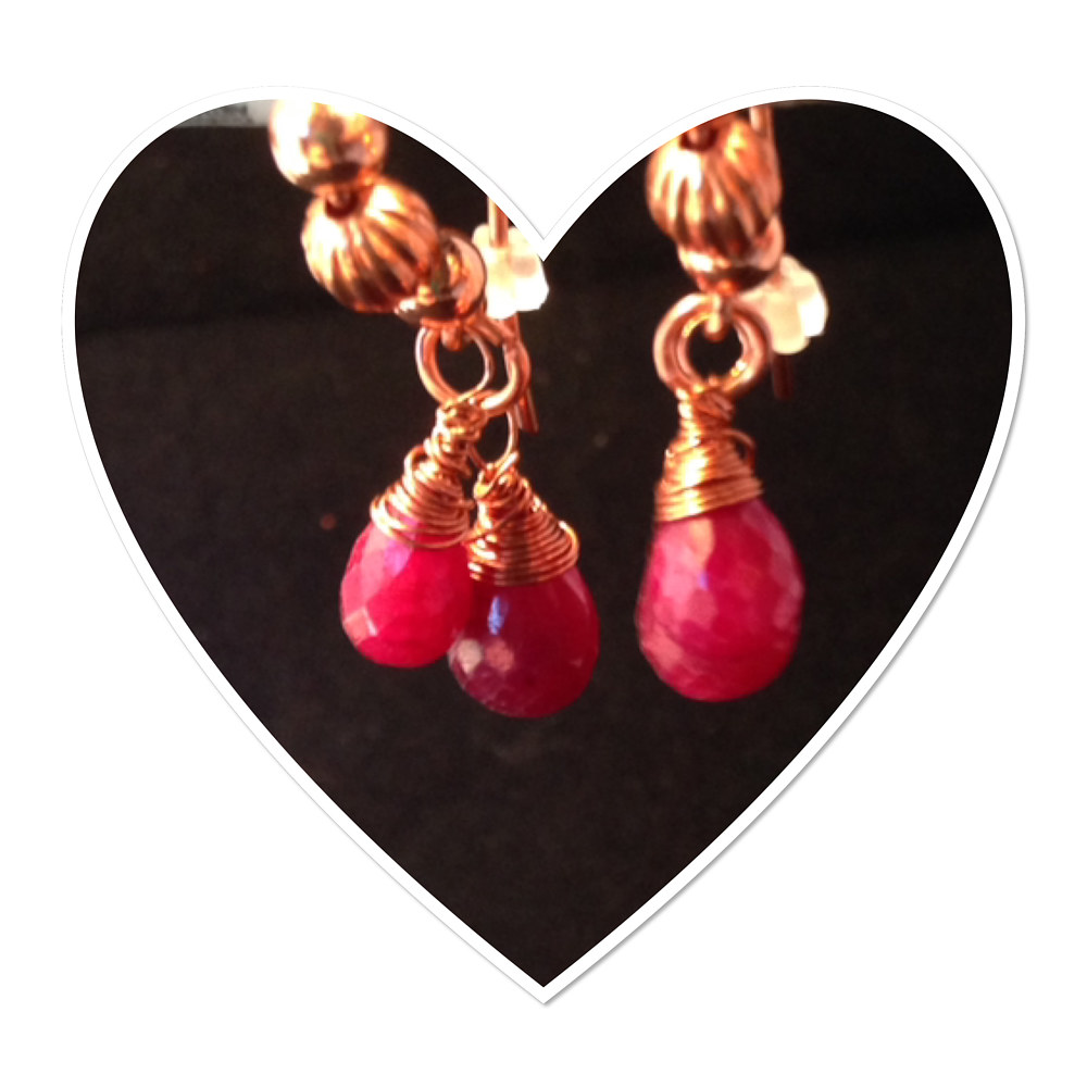 Pure copper and Ruby Briolettes Earrings     #5012       IMG_6129 by Renee Hennessy