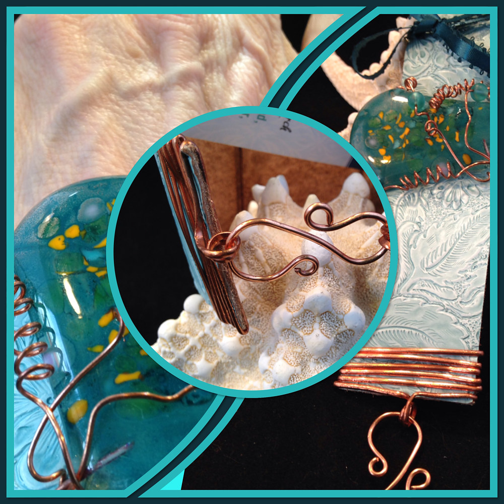 Aqua Sparkles on Turquoise Leather Beach Bracelet # IMG4043   _6224 by Renee Hennessy