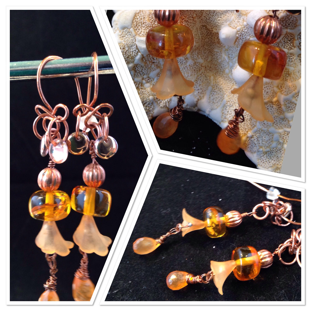 Amber, Orange Quartz, Bell Dangle Earrings   #5035  IMG_6230 by Renee Hennessy