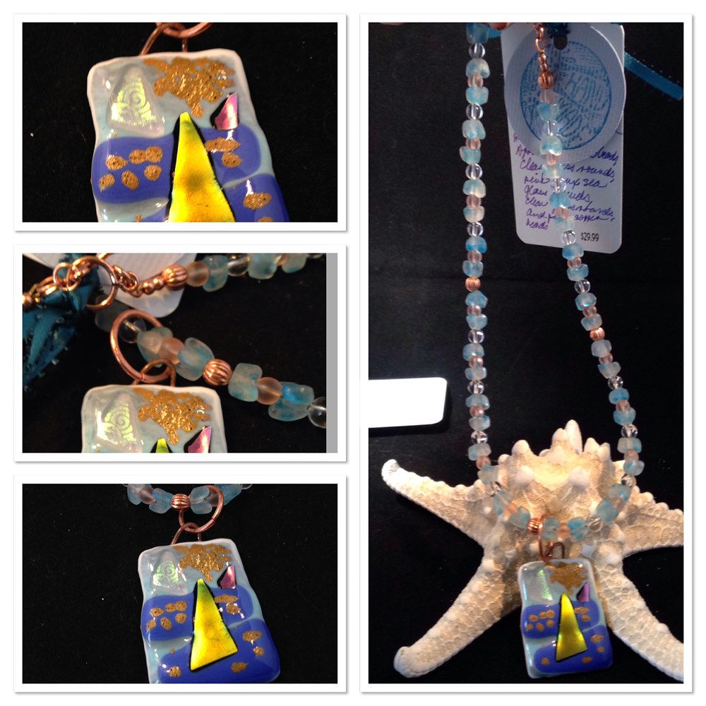 Painting 'Golden Sails' Pendant On Beaded Necklace IMG_6239 by Renee Hennessy