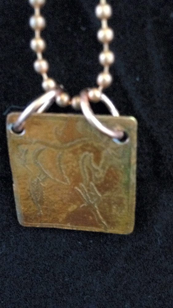 'Prancing Horse' Hand Etched Copper Pendant On A Ball Chain IMG_6460 by Renee Hennessy