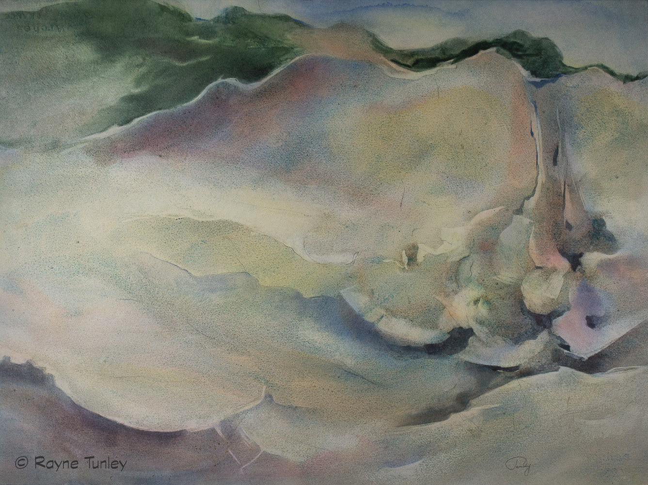 "Rayne Tunley, ""Okanagan Cliffs"", 22in x 30in, watercolour by Rayne Tunley"