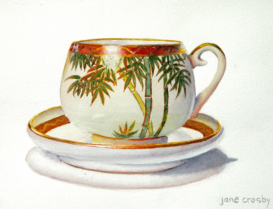 Watercolor Bamboo Teacup by Jane Crosby