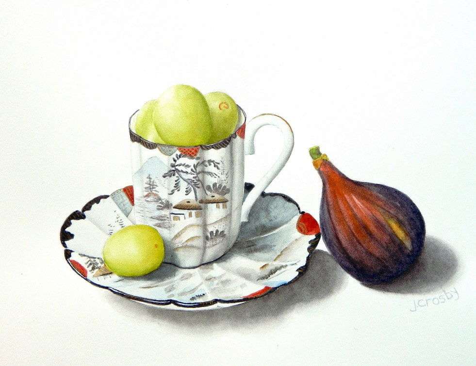 Watercolor Fuji Teacup with Fruit by Jane Crosby