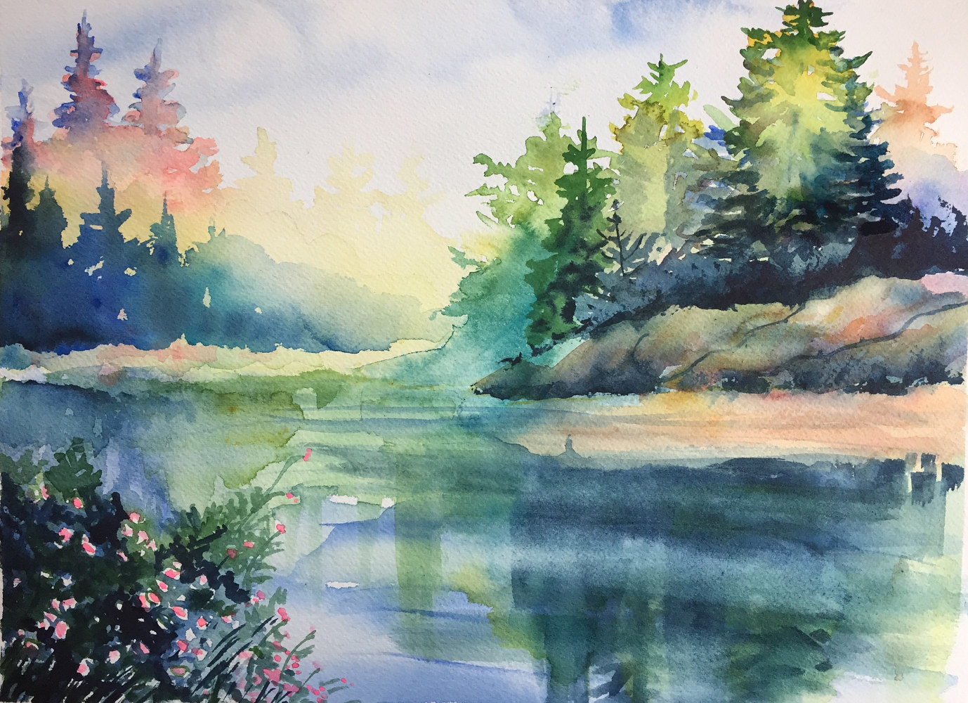 Watercolor Pine Tree Reflections by Elizabeth4361 Medeiros