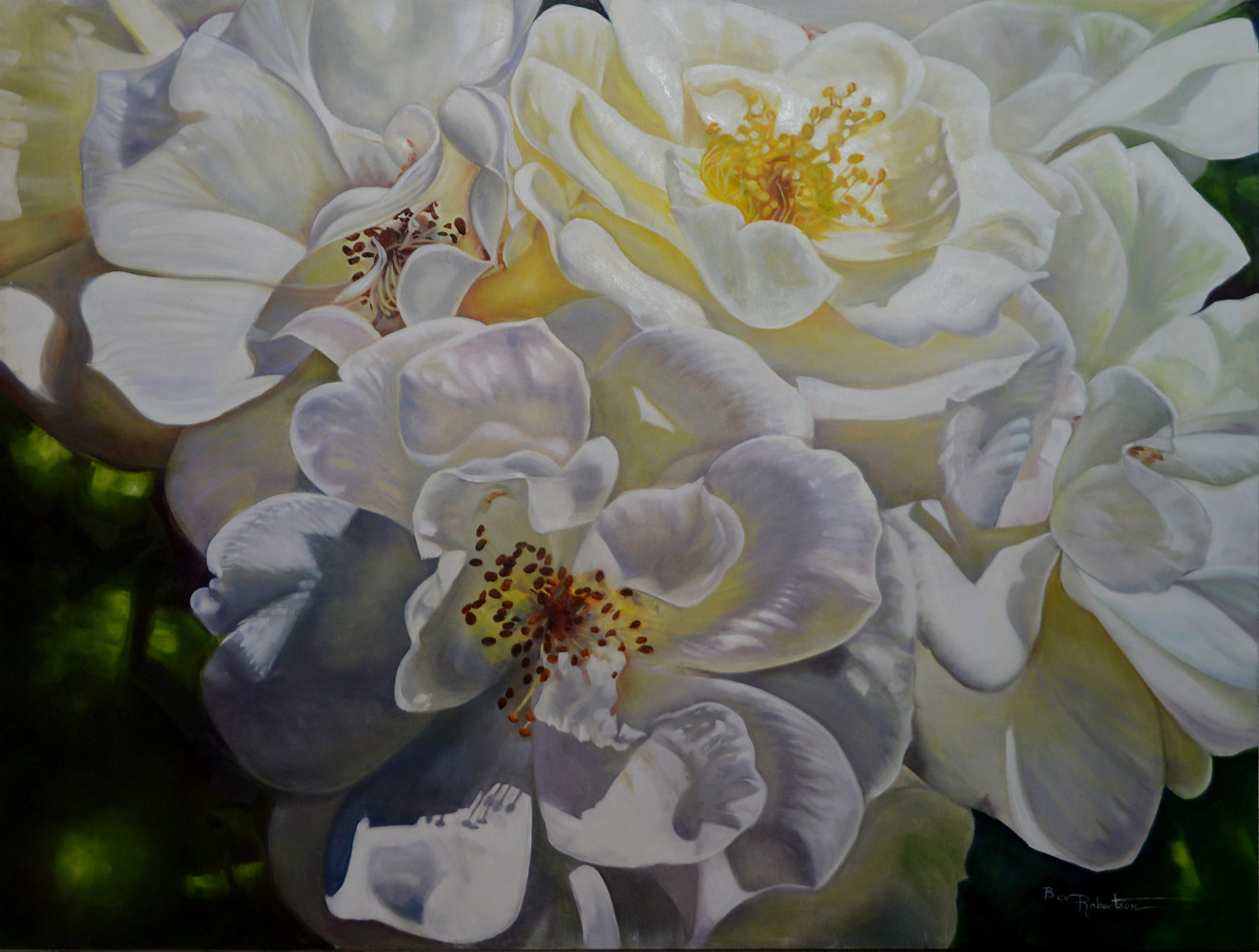 Oil painting Stop and Smell the Roses by Bev Robertson