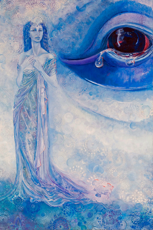 Oil painting Twin Soul of Mysticeti the Great Blue Whale' work in progress by Frederica  Hall