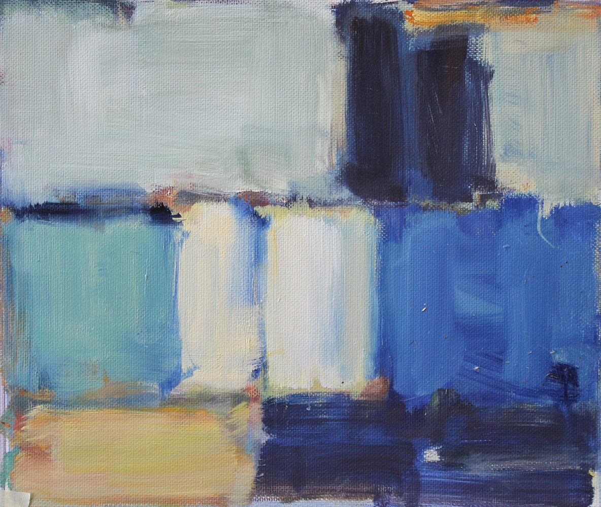 "Oil painting Cobalt and Cream,  oil on paper, 9"" x 10 1/2"" by Susan Horn"
