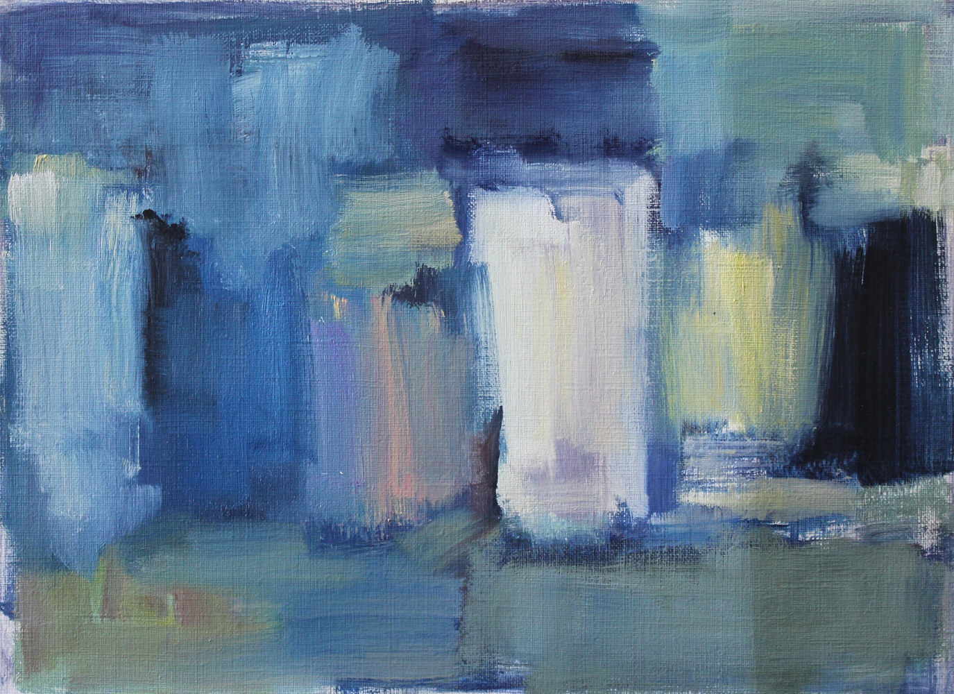"Oil painting Abstract With Blue Light, oil on paper, 8"" x 10 3/4"" by Susan Horn"