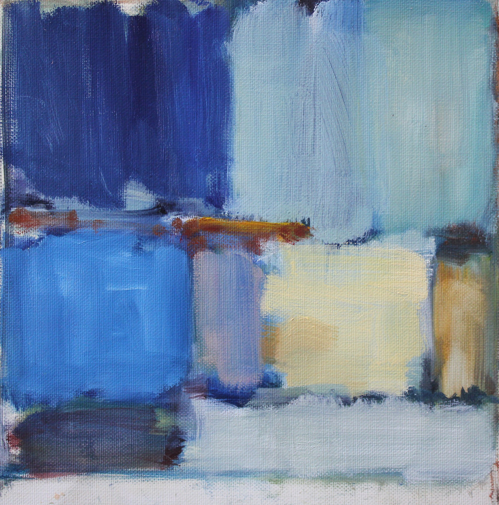 "Oil painting Carrara And Cobalt, oil on paper, 9 1/2"" x 9 1/2"" by Susan Horn"