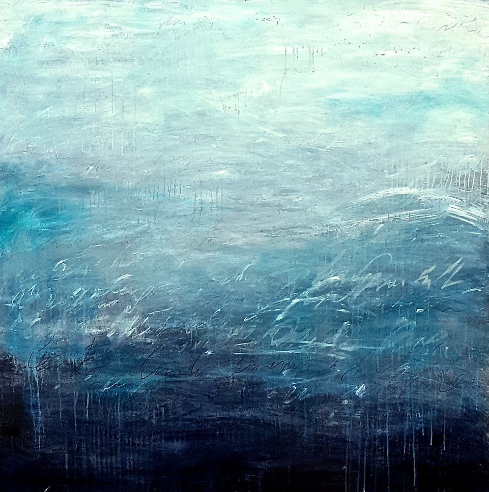 "Acrylic painting Promises faded 48""x48"" by Laura Spring"