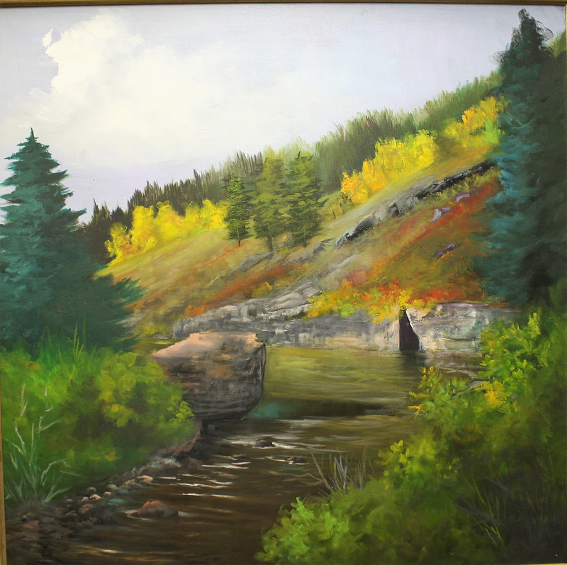 Oil painting San Juan River  Pagosa Springs,Colorado by Barbara Haviland