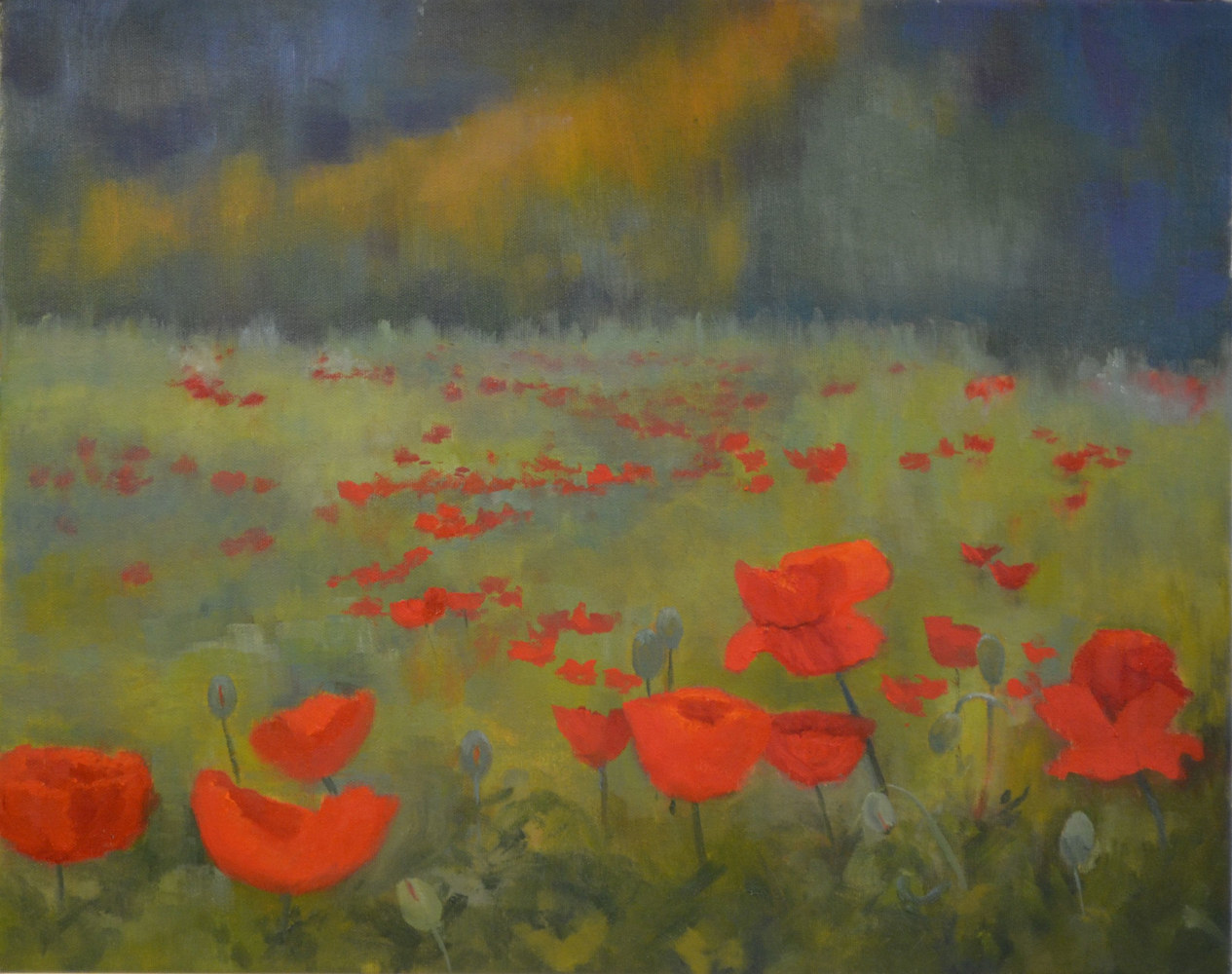 Drifting Reds - 16 by 20 - 30-1116 - oil on canvas by Patricia Savoie