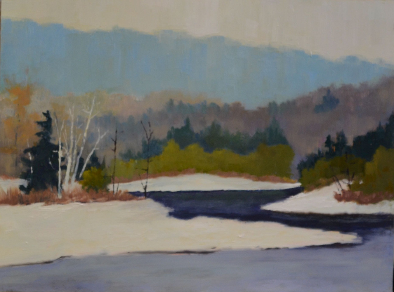 Madawaska Melt, 12 x 16, oil on cradled wood gallery panel, 4-0217 by Patricia Savoie