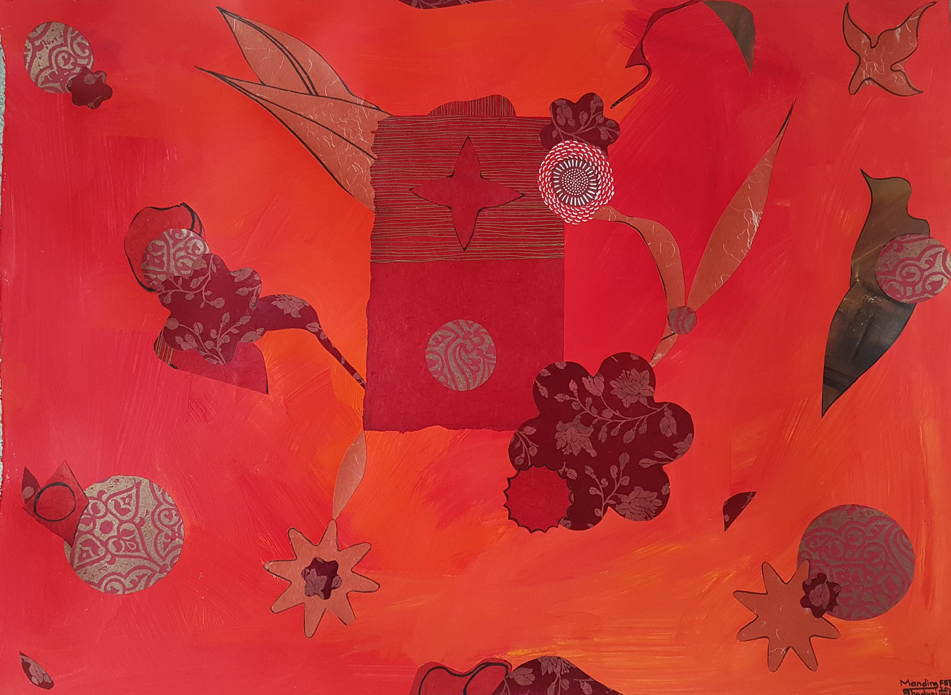 Acrylic painting Red by Mandira Bhaduri