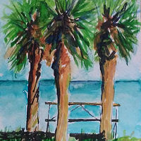 Painting Watercolor at Cedar Key Feb 28, 2017 by Michelle Marcotte