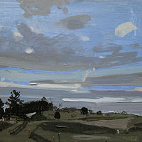 Acrylic painting March 5, Lost Dog Hill by Harry Stooshinoff