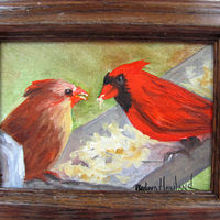 Oil painting A Pair of  Cardinals by Barbara Haviland