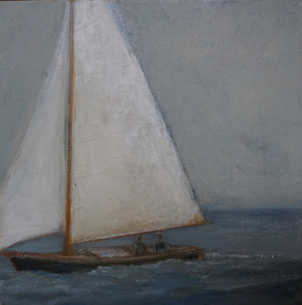 Oil painting At the Helm by Nella Lush