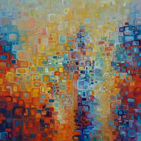 Oil painting Pixels 5 by BJ Keith