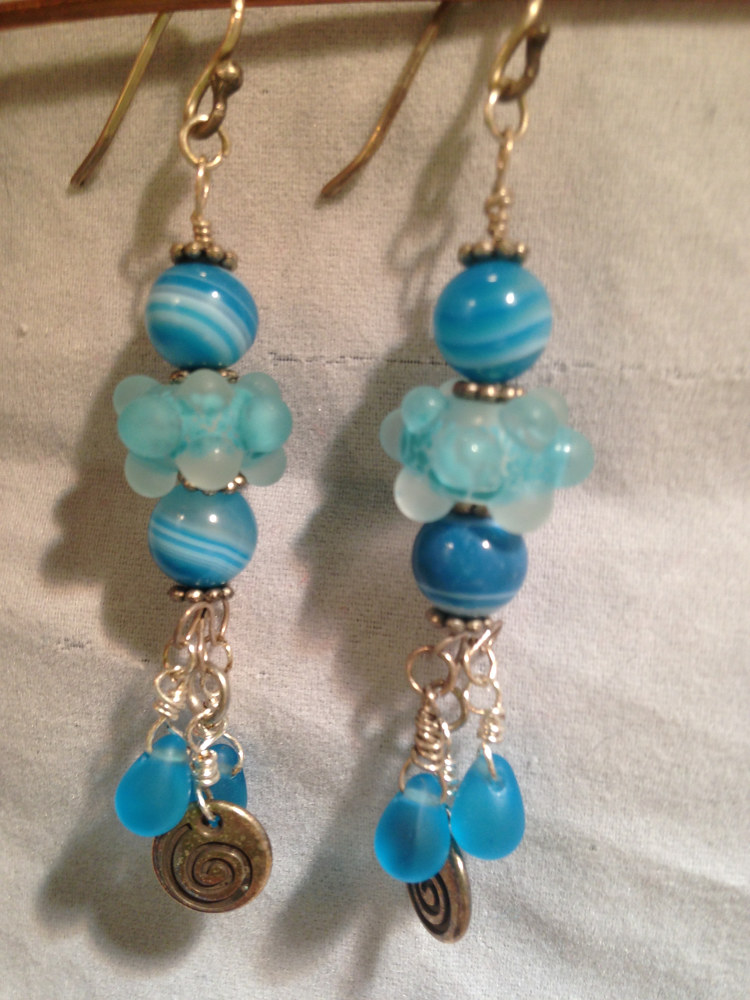 Sterling Silver Swirls and Bubbles Seafoam Blue Dangles  #5004 by Renee Hennessy