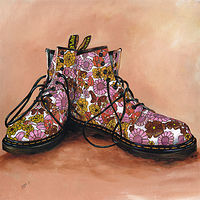 Oil painting Lucy's Floral Dr Martens by Richard Mountford