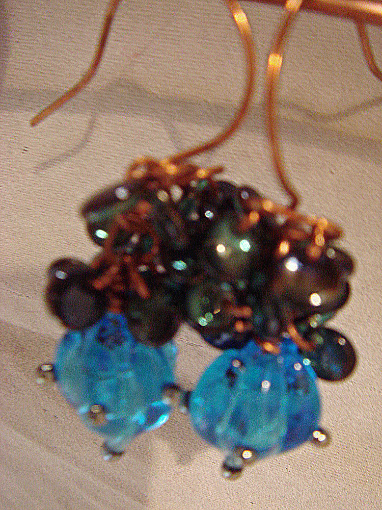 Artisan Lampwork Teal Drops in Copper Earrings  5042 DSC05199 by Renee Hennessy