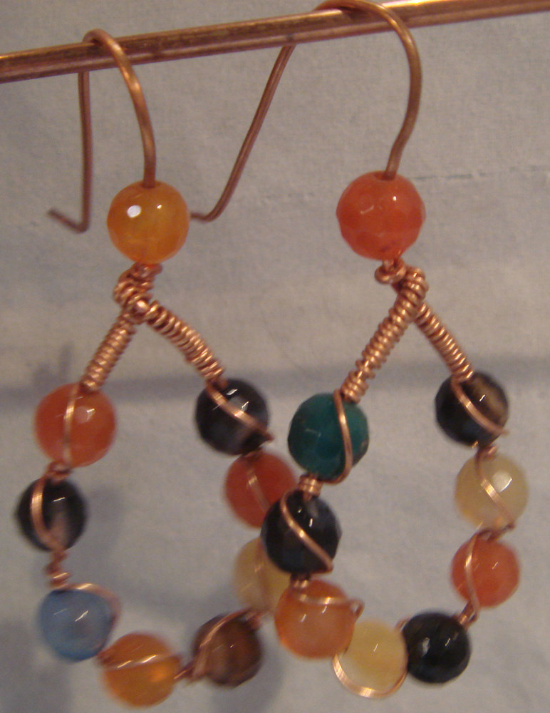 Faceted Co;or Quartz and Copper Earrings   5043  DSC05204 by Renee Hennessy
