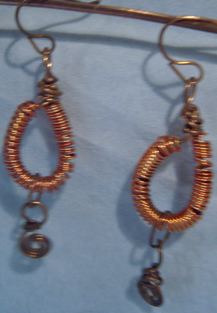 Wire Wrapped Copper Spiral Earrings  5044 DSC05206 by Renee Hennessy
