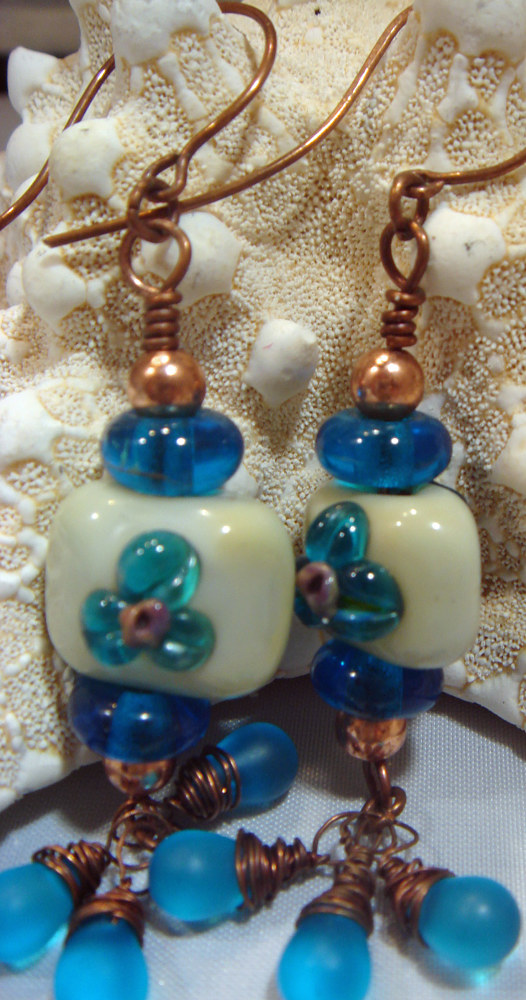 Artisan Chicklet Turquoise Flower Focal Earrings  5045 DSC05211 by Renee Hennessy