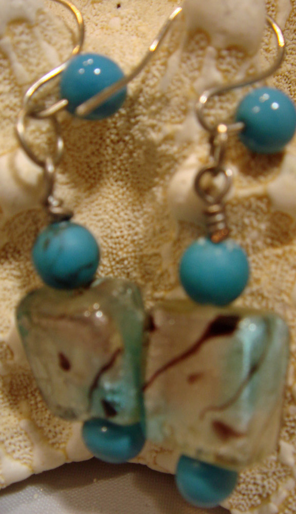 Artisan Lampwork Cubed Earrings  5007 by Renee Hennessy
