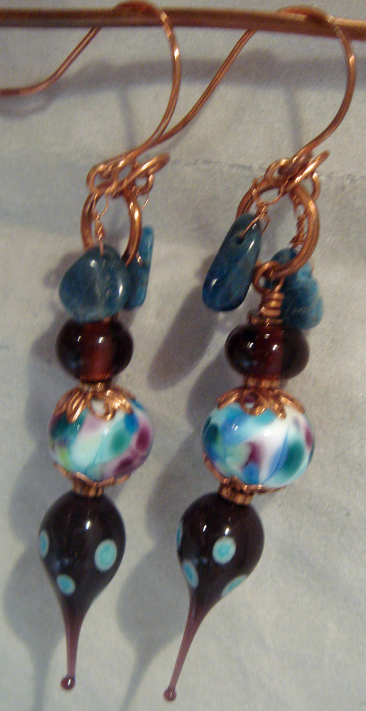 Artisan Lampwork Focals Spikes, With Apatite Earrings 5008 by Renee Hennessy