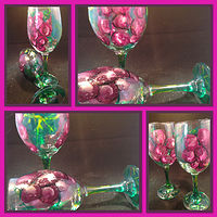 Painting Hand Painted Grapes, Vine and Leaves Glasses            IMG_6405 by Renee Hennessy