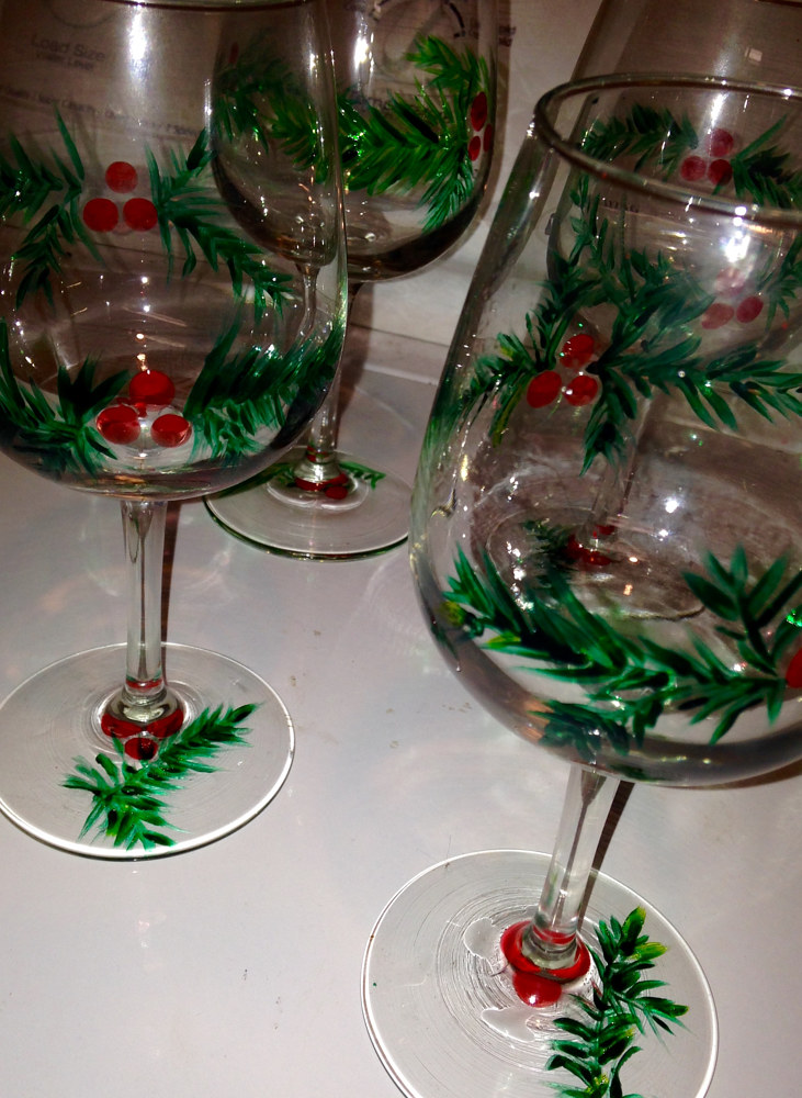 Painting Evergreen and Holly Painted Glasses                  IMG_0593 by Renee Hennessy
